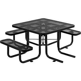 """46"""" Wheelchair Accessible Square Outdoor Steel Picnic Table - Expanded Metal - Black"""