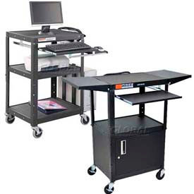 Adjustable Steel Audio Visual Workstations With Sliding Keyboard Shelf