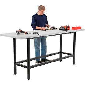 "96""W x 30""D Standing Height Workbench - Plastic Laminate Square Edge - Black"
