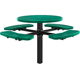 "46"" Round In-Ground Mount Outdoor Steel Picnic Table - Expanded Metal - Green"