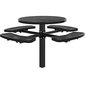 """46"""" Round In-Ground Mount Picnic Table, Expanded Metal, Black"""