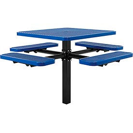 """46"""" Square In-Ground Mount Picnic Table, Expanded Metal, Blue"""