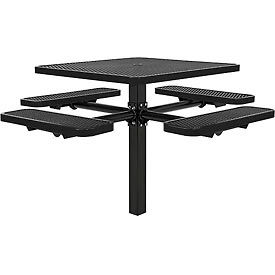 """46"""" Square In-Ground Mount Picnic Table, Expanded Metal, Black"""