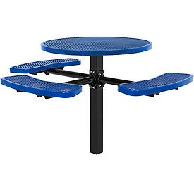 """46"""" ADA Round In-Ground Mount Picnic Table, Expanded Metal, Blue"""