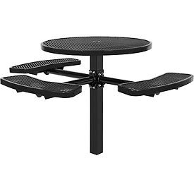 """46"""" ADA Round In-Ground Mount Picnic Table, Expanded Metal, Black"""