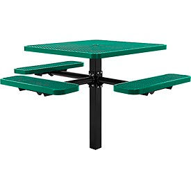 """46"""" ADA Square In-Ground Mount Picnic Table, Expanded Metal, Green"""