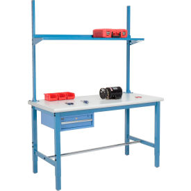 """72""""W x 36""""D Production Workbench - Plastic Laminate Safety Edge with Drawer, Upright & Shelf- Blue"""