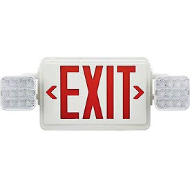 Global Combo Led Emergency Exit Sign Red Letters W Battery Backup Ceiling