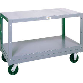 Modern Equipment MECO 5MS243-2 Mobile Steel Table 2 Shelf 24x36 Rubber 1400 Lb.
