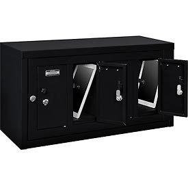 Global™ 4 Doors Tablet & Cell Phone Locker with Keyed Lock & Hasp and Master Door Open–Black
