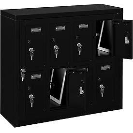 Global™ 8 Doors Tablet & Cell Phone Locker with Keyed Lock & Hasp and Master Door Open–Black