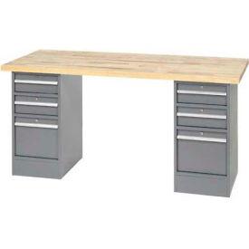 "96""W x 30""D Pedestal Workbench W/ 6 Drawers, Plastic Laminate Square Edge - Gray"