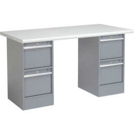 "60""W x 30""D Pedestal Workbench W/ 4 Drawers, Plastic Laminate Safety Edge - Gray"