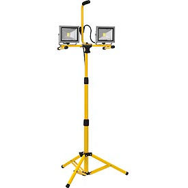 Global™ LED Dual Work Light w/Tripod, 20Wx2, 3200 Lumens, IP65, Yellow