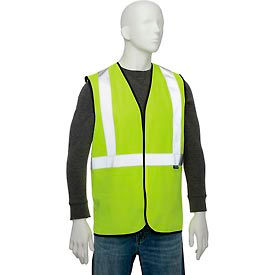 """Global Industrial Class 2 Hi-Vis Safety Vest, 2"""" Reflective Strips, Polyester Solid, Lime, Size S/M"""