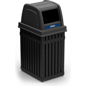 Commercial Zone ArchTec Parkview Single Trash Container w/ Square Opening, 25 Gallon Black -72740199