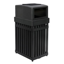 Commercial Zone ArchTec Parkview Single Ash/Trash Container w/ Square Opening, 25 Gal. BK - 72710099