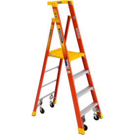 Werner 6' Type 1A Fiberglass Podium Ladder W/ Casters 300 lb. Cap - PD6206-4C