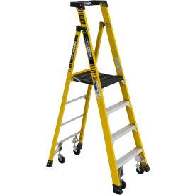 Werner 4' Type 1AA Fiberglass Podium Ladder W/ Casters 375 lb. Cap - PD7304-4C