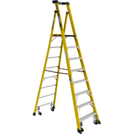 Werner 8' Type 1AA Fiberglass Podium Ladder W/ Casters 375 lb. Cap - PD7308-4C