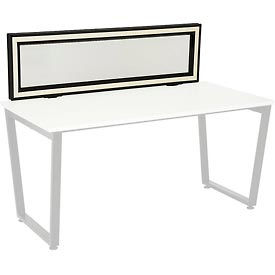 Interion® Universal Clamp-On Desk Partition - Frosted Glass