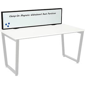 Interion® Universal Clamp-On Desk Partition - Magnetic Whiteboard
