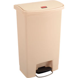 Rubbermaid® Slim Jim® 1883458 Plastic Step On Container, Front Step 13 Gallon - Beige
