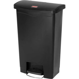 Rubbermaid® Slim Jim® 1883613 Plastic Step On Container, Front Step 18 Gallon - Black