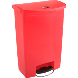 Rubbermaid® Slim Jim® 1883570 Plastic Step On Container, Front Step 24 Gallon - Red