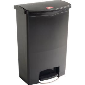 Rubbermaid® Slim Jim® 1883615 Plastic Step On Container, Front Step 24 Gallon - Black