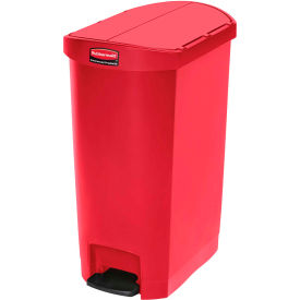 Rubbermaid® Slim Jim® 1883571 Plastic Step On Container, End Step 24 Gallon - Red