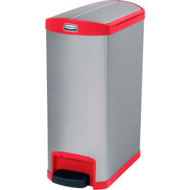 Rubbermaid® Slim Jim® 1901996 Stainless Steel Step On Can, End Step 13 Gallon - Red