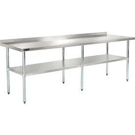 """Stainless Steel Workbench - 96""""W x 30""""D with 2"""" Backsplash and Undershelf"""