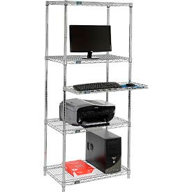"""Nexel™ 4-Shelf Wire Computer Workstation with Cantilever Tray, 30""""W x 18""""D x 74""""H, Chrome"""