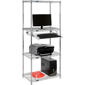"Nexel™ 4-Shelf Wire Computer Workstation with Slide-Out Tray, 30""W x 18""D x 74""H, Chrome"