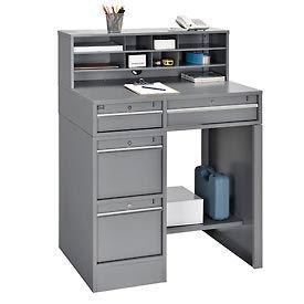 "38""W x 29""D x 51""H 4-Drawer Premium Shop Desk - Gray"