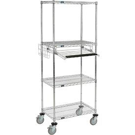"Nexel™ 4-Shelf Mobile Wire Computer Workstation w/ Slide-Out Tray, 30""W x 18""D x 79""H, Chrome"