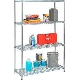 """Nexel Best Value Wire Shelving Unit 48""""W x 24""""D x 74""""H (400 lb shelf cap) Zinc Chromate"""