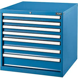 "Global™ Modular Drawer Cabinet,  7 Drawers, w/Lock, w/o Dividers, 30x27x29-1/2""H, Blue"