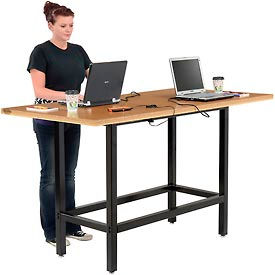 """Standing Height Table with Power - 72""""L x 36""""Wx 42""""H - MDF Top"""