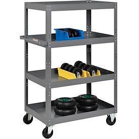 Multi-Level Steel Shelf Truck with 4 Shelves 36 x 24 800 Lb. Capacity