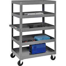 Multi-Level Steel Shelf Truck with 5 Shelves 36 x 24 800 Lb. Capacity