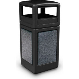 42 Gallon StoneTec® 72041399 Square Receptacle with Dome Lid - Black w/Pepperstone Panels