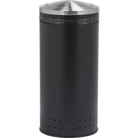 Precision Series® 781401 Imprinted 360 Steel Receptacle with Swivel Lid, 25 Gallon - Black