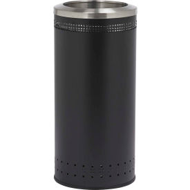 Precision Series® 781801 Imprinted 360 Steel Receptacle with Open Lid, 25 Gallon - Black