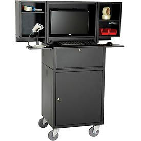 Global Industrial™ Mobile Fold-Out Computer Security Cabinet, Black, Unassembled