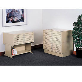 """Safco 5-Drawer Steel Flat File - 46-1/2 X35-1/2 X16-1/2"""" - Baby Wheat"""