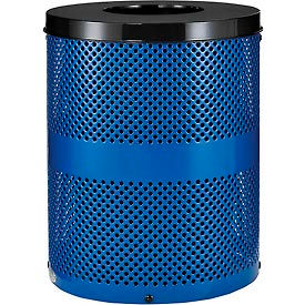 Global Industrial™ Thermoplastic Coated 32 Gallon Perforated Receptacle w/Flat Lid - Blue