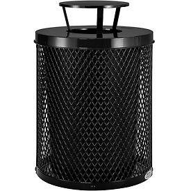 Global Industrial™ Thermoplastic Coated 32 Gallon Mesh Receptacle w/Rain Bonnet Lid - Black