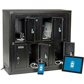 Global™ Tablet & Cell Phone Charging Locker - 8 Door w/Keyed Lock & Hasp and Master Door Open